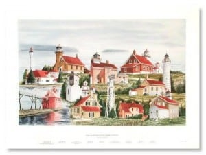 "Lighthouses of Door County"" collage from Main Street Framing Lannon"