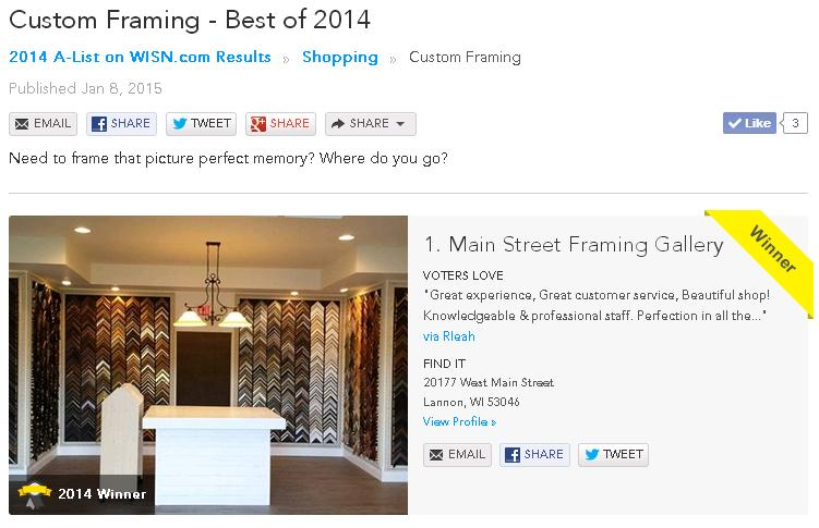 "Picture of the ""A-List"" from WISN of Main Street Framing as the winner of the 2014 Best Custom Framing in Milwaukee award."